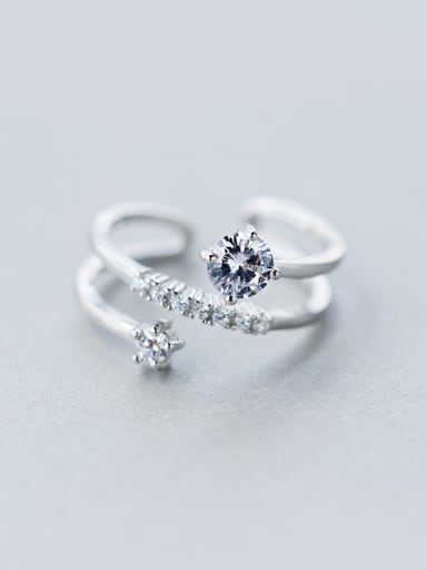 S925 silver three layer zircon opening Stacking Ring