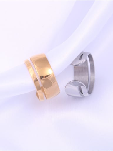 Titanium With Gold Plated Simplistic Irregular Free Size Rings