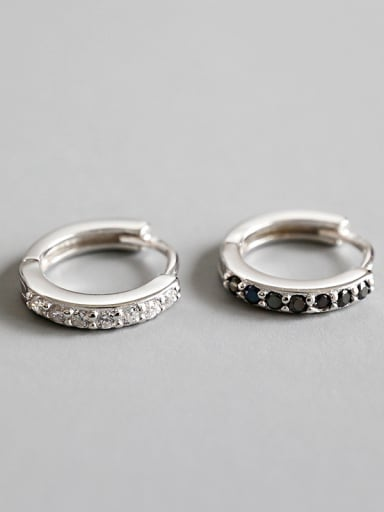 925 Sterling Silver With Platinum Plated  Cubic Zirconia Stud Earrings