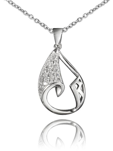 Fashionable Platinum Plated Water Drop Zircon Necklace