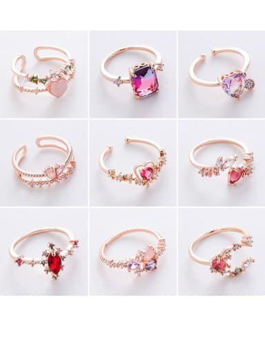Alloy With Rose Gold Plated Simplistic Geometric Free Size Rings