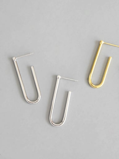 Sterling Silver simple personality clip U ear studs earing