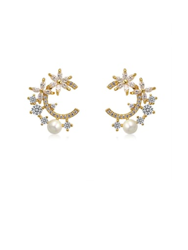 Copper With Cubic Zirconia  Personality Flower Stud Earrings