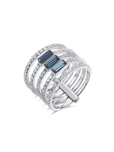 Fashion Multi-band Swarovski Crystals 925 Silver Ring