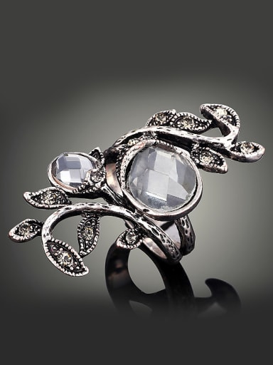 Retro style White Crystals Little Rhinestone-studded Leaves Alloy Ring