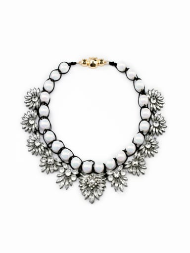 Retro Artificial Pearls and Stones Alloy Necklace