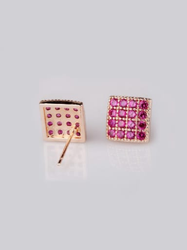 Qing Xing Ruby Square stud Earring,  Luxury Genuine Rose Gold Plated, Anti-allergic