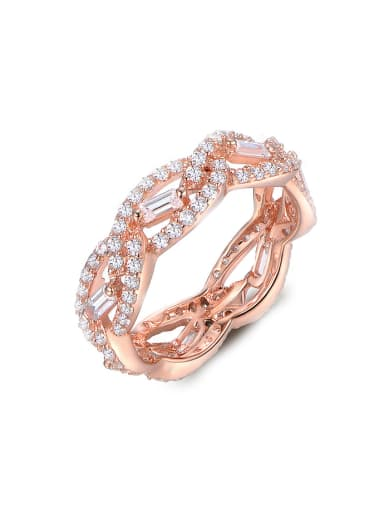 2018 2018 Rose Gold Plated Zircon Ring