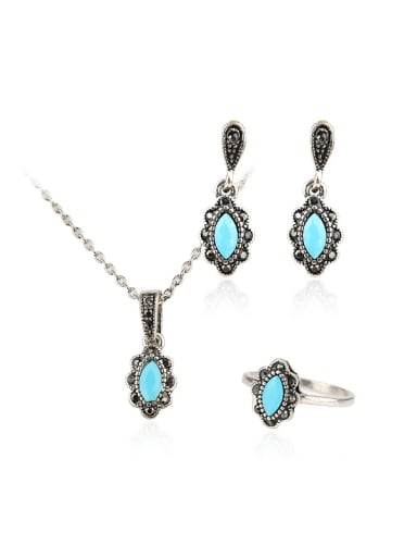 Retro style Oval Blue Resin stones Alloy Three Pieces Jewelry Set