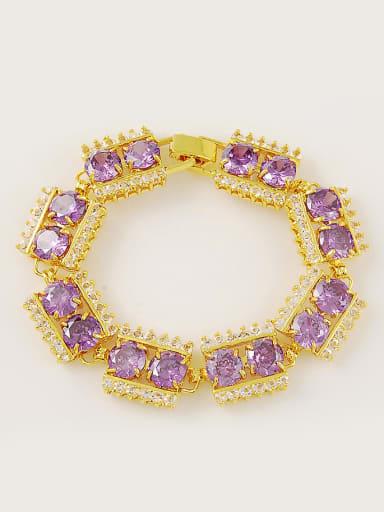 Shining Purple Geometric Shaped Gold Plated Crystals Bracelet