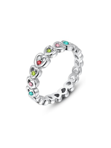 All-match Colorful Austria Crystal Heart Shaped Ring
