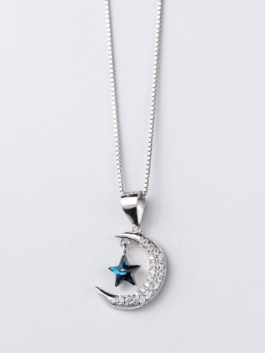 Exquisite Moon And Star Shaped Zircon Silver Pendant