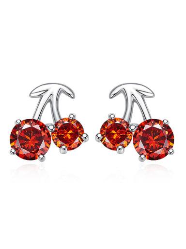 Personalized Little Cherry Cubic Red Zircon 925 Silver Stud Earrings