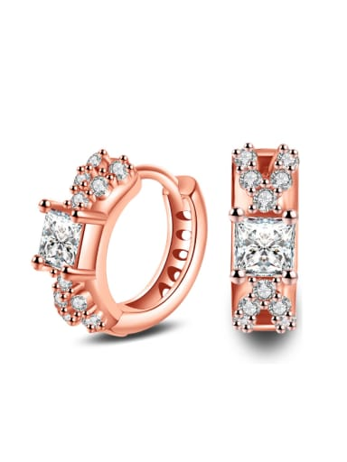 Fashion Geometric Noble AAA Zircons Fashion Women Clip Earrings