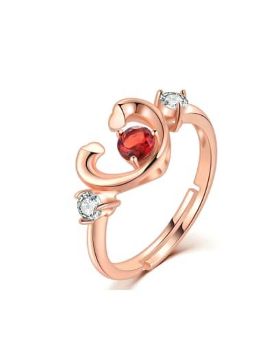 Heart-shape Natural Garnet Opening Ring