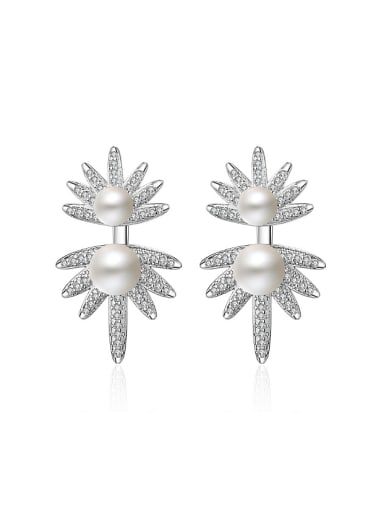 Fashion Imitation Pearl Shiny Zirconias Flower Stud Earrings