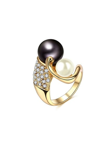 Exquisite Double Color Artificial Pearl Ring