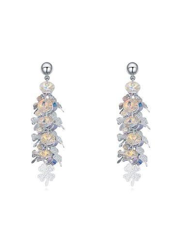 Fashion Cubic Swarovski Crystals Little Four-leaf Clovers Drop Earrings