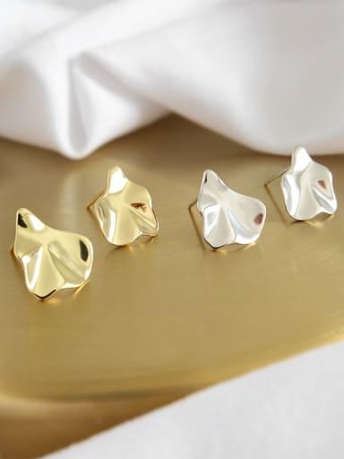 Sterling silver irregular bump surface geometry stud earrings