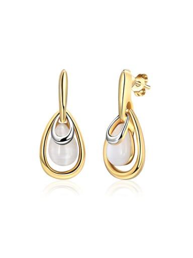 Temperament 18K Gold Water Drop Opal Drop Earrings