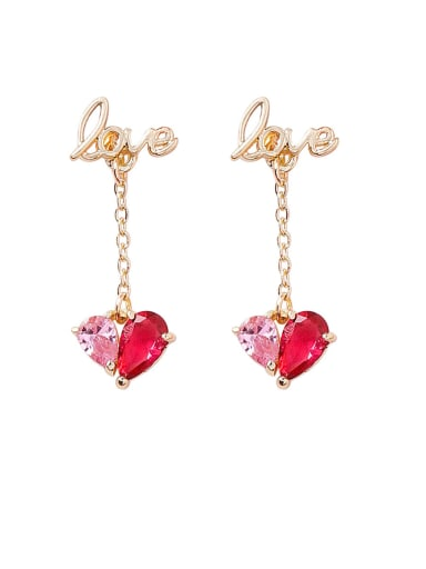 Alloy With Gold Plated Simplistic Heart Drop Earrings