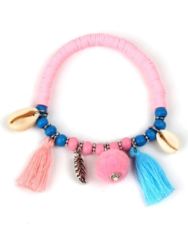 Colorful Wooden Beads Shell Accessories Tassel Bracelet