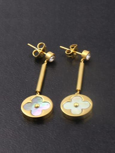 Fashion Flower-shape Copper Plating Shell Drop Earrings
