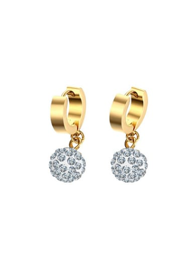 Fashion Gold Plated Ball Shaped Rhinestone Drop Earrings