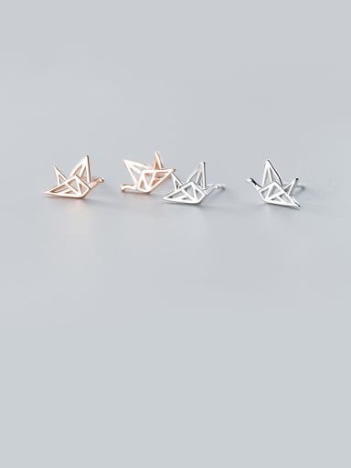 925 Sterling Silver With Platinum Plated Simplistic Paper Craner Stud Earrings
