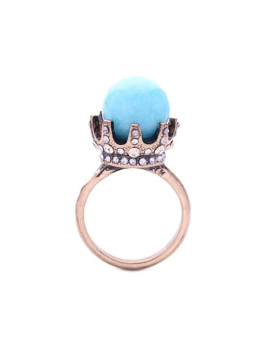 Synthetic Stone Lady Alloy Statement Ring