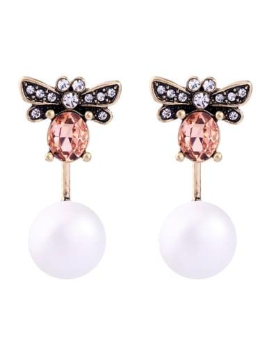 Retro Bee-shape Artificial Pearls Stud Earring