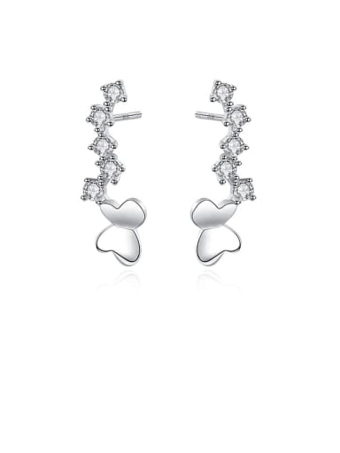 925 Sterling Silver With Cubic Zirconia Simplistic Butterfly Stud Earrings