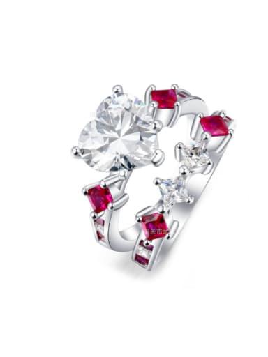 Noble Double Lines Heart Zircon Ring