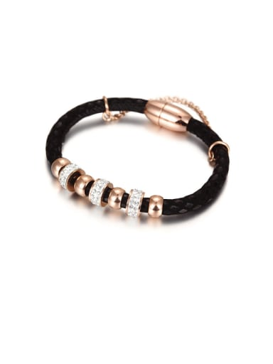 Titanium 14K Rose Gold Leather Rope Bracelet