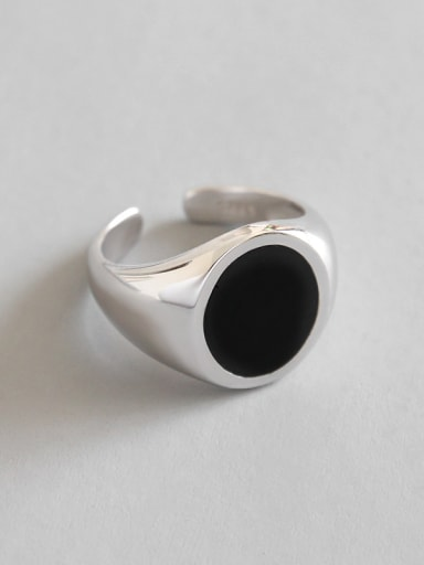 925 Sterling Silver With Silver Plated Simplistic Round Free size Rings