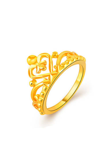 Women Exquisite Crown Shaped 24K Gold Plated Ring