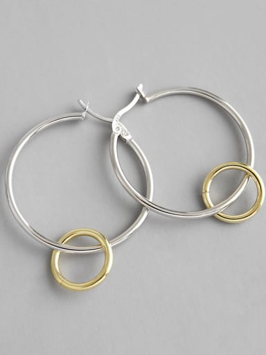 925 Sterling Silver With Silver Plated Simplistic Double circle Hoop Earrings