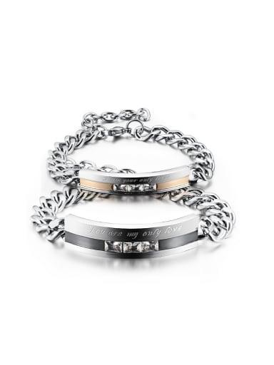 Fashion Cubic Zircon Titanium Smooth Lovers Bracelet