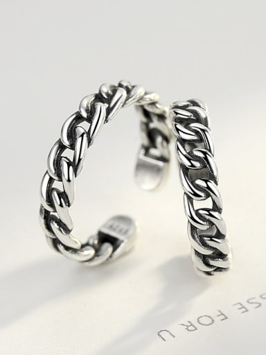 Sterling silver couple ring vintage twist free size ring
