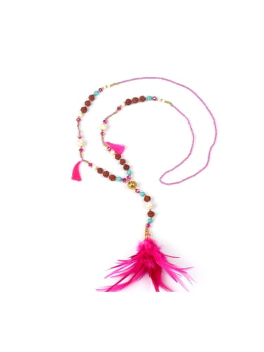 Beautiful Feather Beads Stones Women Necklace