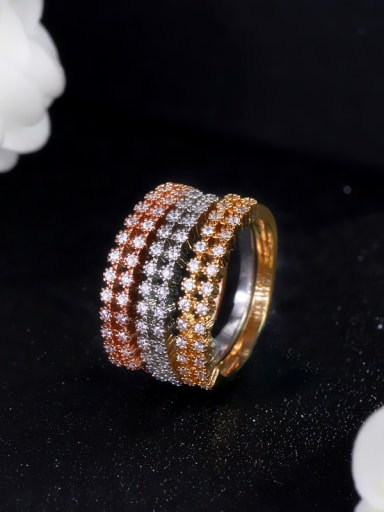 Copper micro plated AAA zircon tricolor plating ring