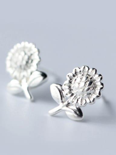 S925 silver fresh sunflower stud cuff earring