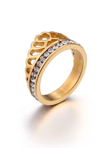 Stainless Steel With 18k Gold Plated Fashion Crown Rings