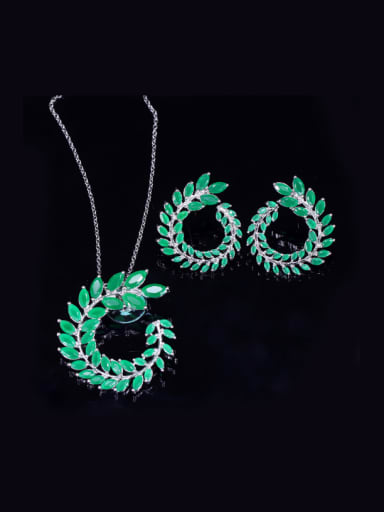 Green Leaves -shape Fashion Western Style Two Pieces Jewelry Set