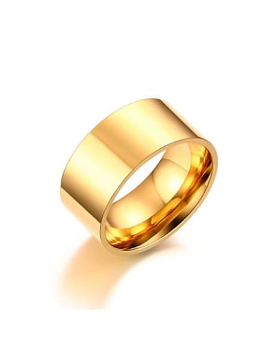Trendy Gold Plated Geometric Shaped Titanium Ring