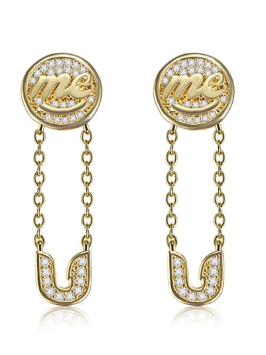Creative new micro-inlay zircon letter me U Earrings