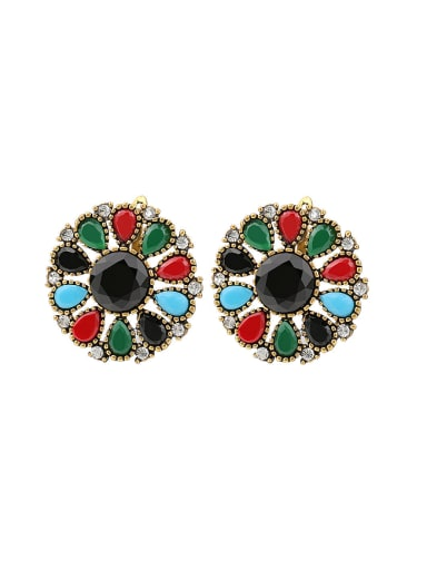 Bohemia Ethnic style Hollow Round Colorful Resin stones Alloy Earrings