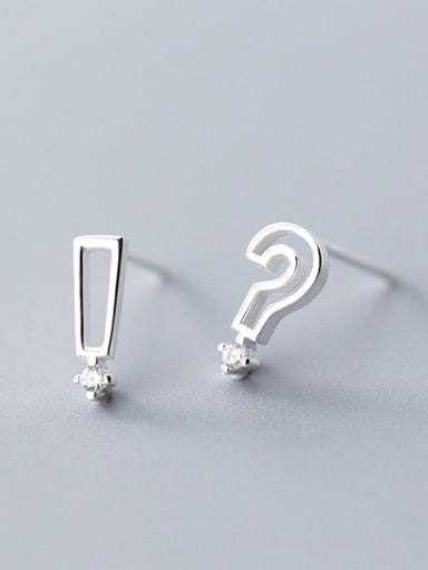 925 Sterling Silver With Platinum Plated Cute Asymmetry Symbol Stud Earrings