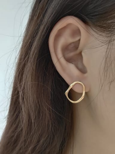 925 Sterling Silver With Gold Plated Simplistic Irregular Stud Earrings