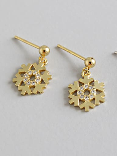 Sterling silver fashion micro-inlaid snowflake zircon earrings